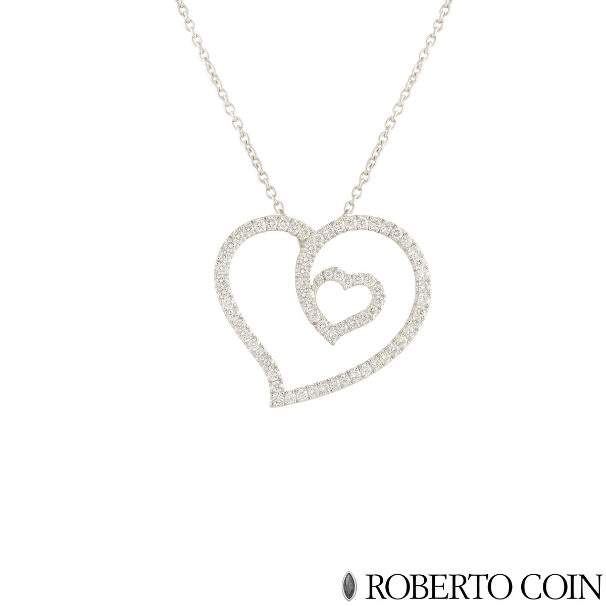 Roberto Coin White Gold Diamond Heart Pendant 0.96ct G/VS